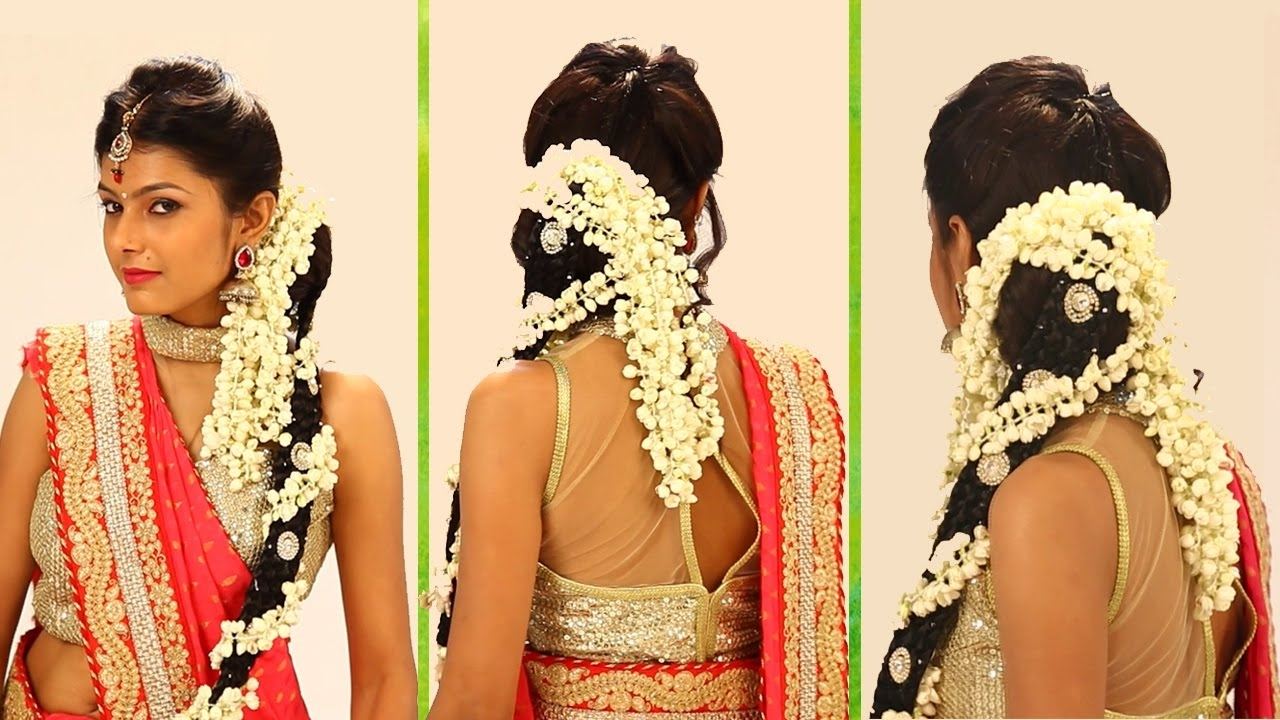 2018 Braid Hairstyles For Reception Inside Indian Bridal Hairstyle Stepstep – South Indian Bridal Hair (View 3 of 15)