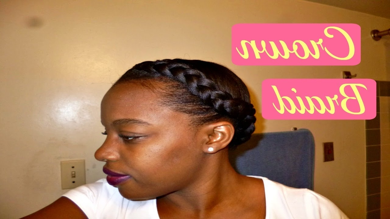 2018 Braided Hairstyles For Relaxed Hair Within Crown/halo Braid Tutorial On Relaxed Hair (View 1 of 15)