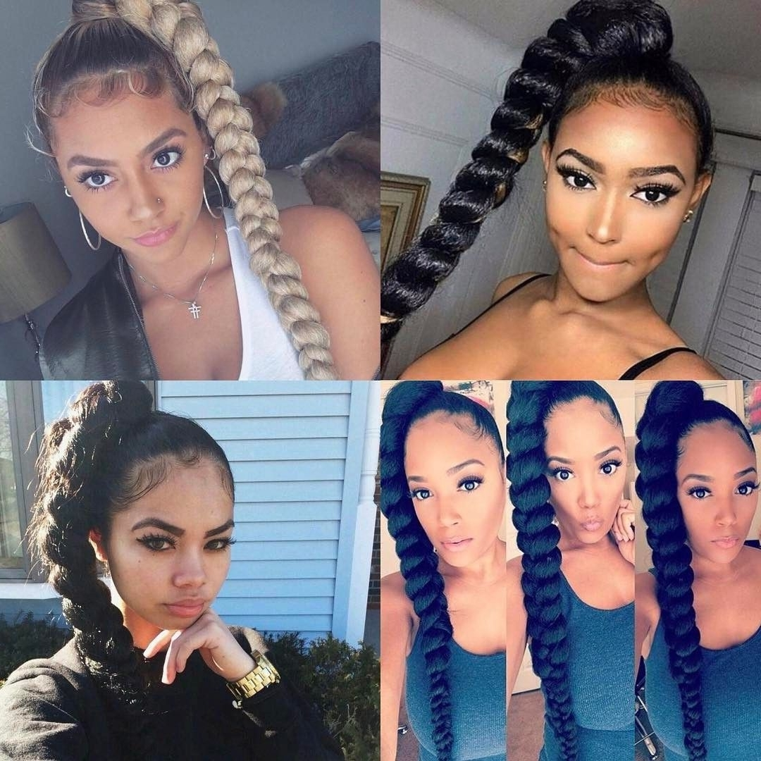 2018 Braided Hairstyles Into A Ponytail With Weave For (View 2 of 15)