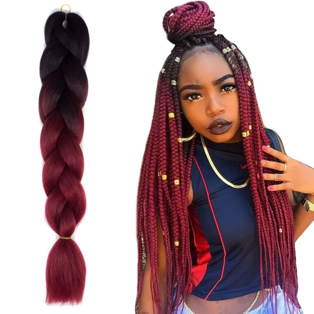 "24"" Black/wine Red Jumbo Braids Hair Ombre Synthetic Braiding Hair Within Most Recent Braided Hairstyles With Fake Hair (View 2 of 15)"