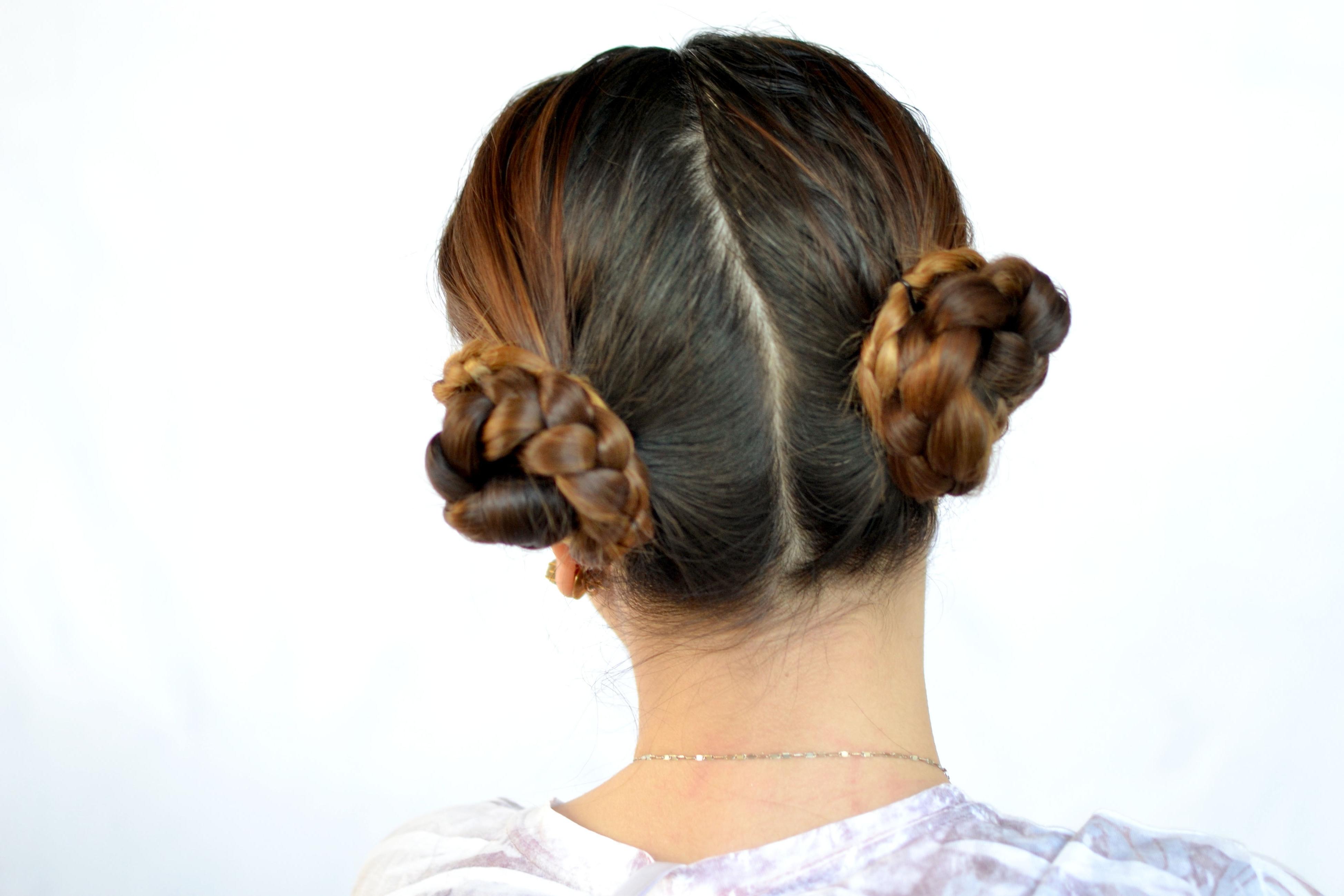 3 Ways To Create A Braided Cinnamon Bun Hairstyle – Wikihow Regarding Popular Braid And Bun Hairstyles (View 3 of 15)