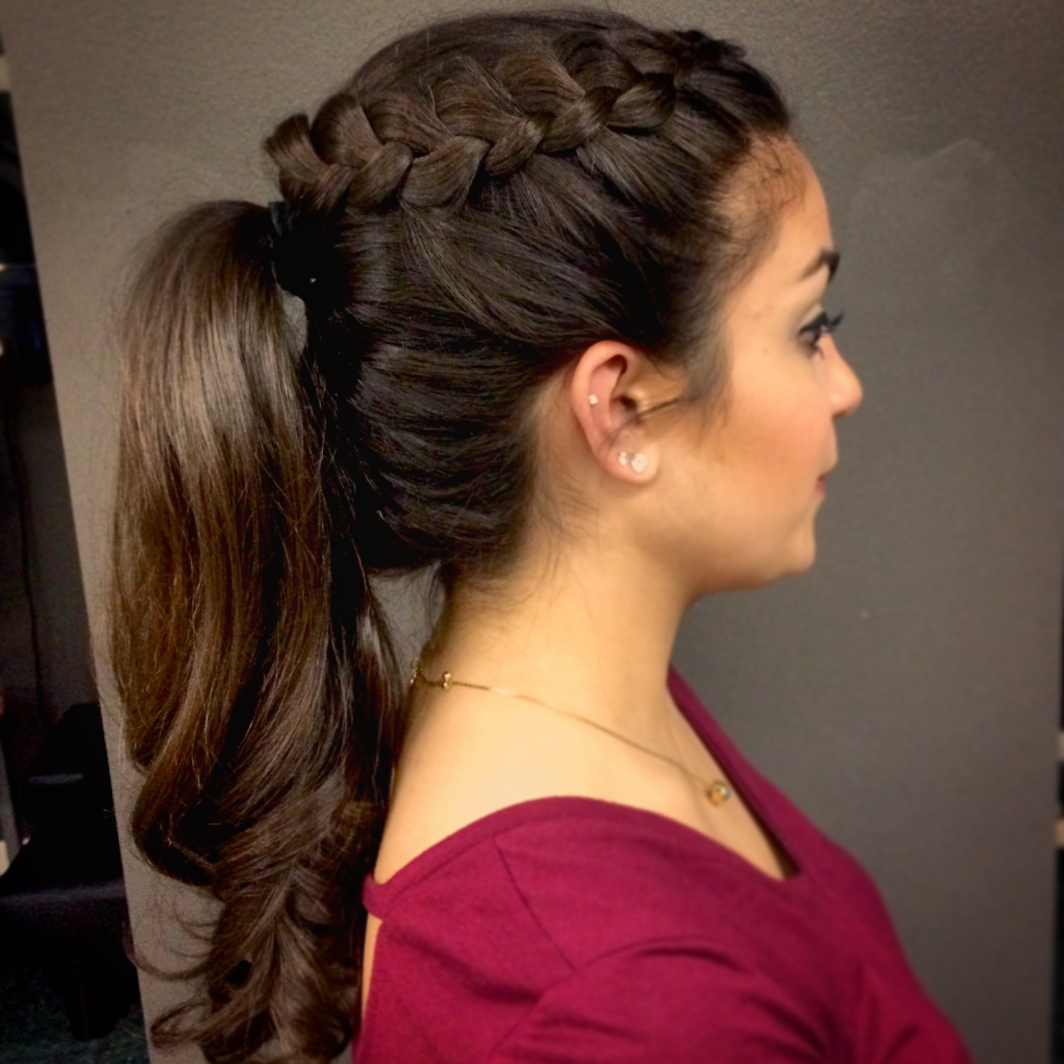 Beautiful Braided Ponytail: Prom 2015 – Lexie Hair And Make Up Regarding 2018 Braided Hairstyles Up In A Ponytail (View 9 of 15)