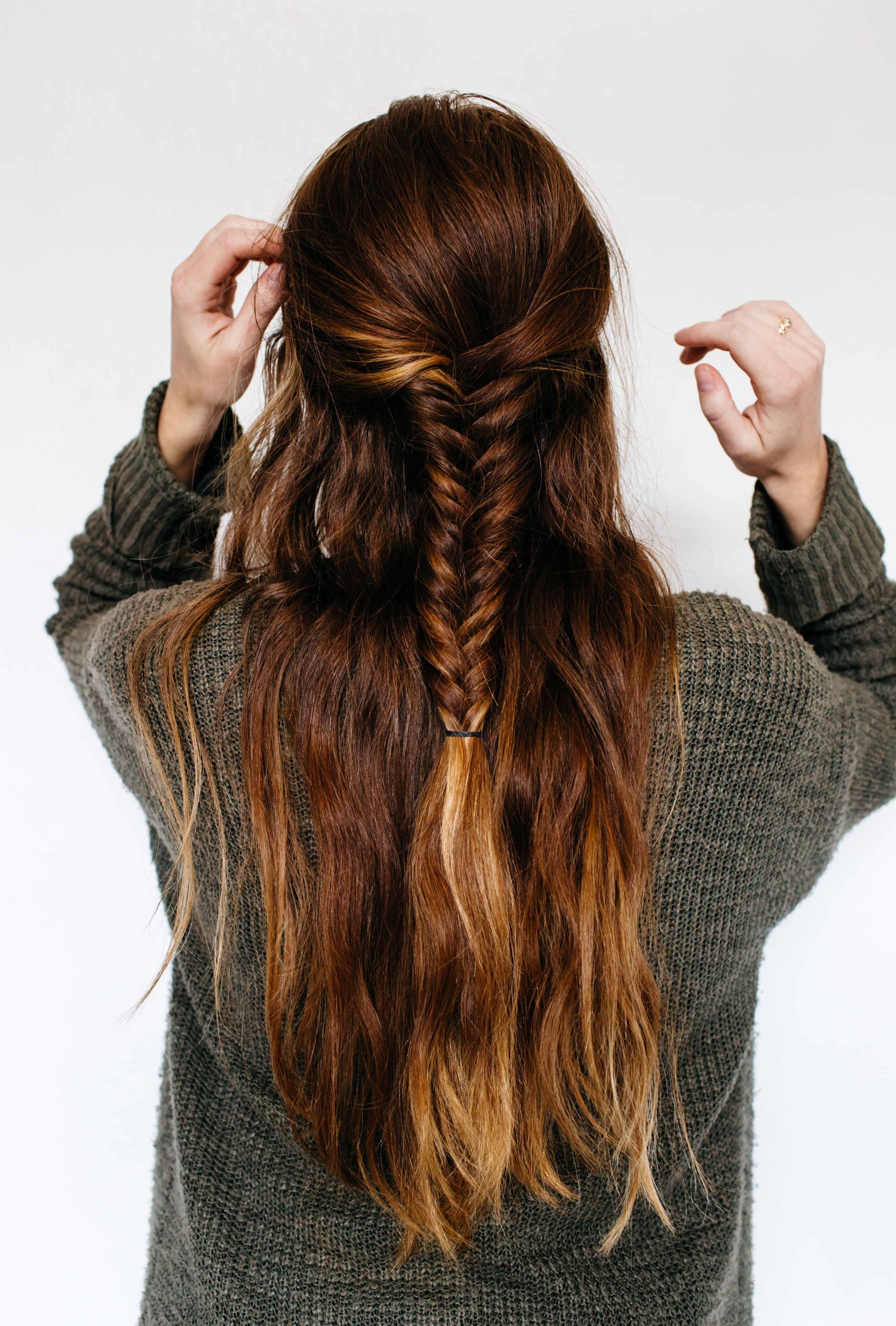 Best And Newest Medium Length Braided Hairstyles With Half Up Half Down Fishtail Braid Hairstyle For Thick, Medium Length (View 2 of 15)
