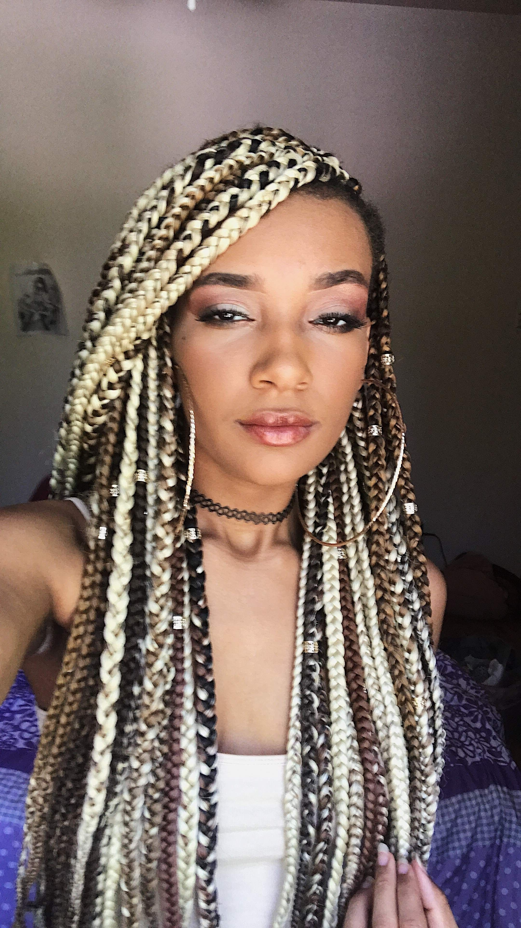 Blonde Box Braids With A Side Cut (View 4 of 15)