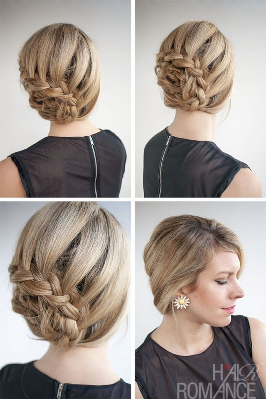Bridesmaid Hairstyles For Short Hair Braided Updo Diy Prom Updos Pertaining To Newest Braided Updo Hairstyles For Short Hair (View 5 of 15)