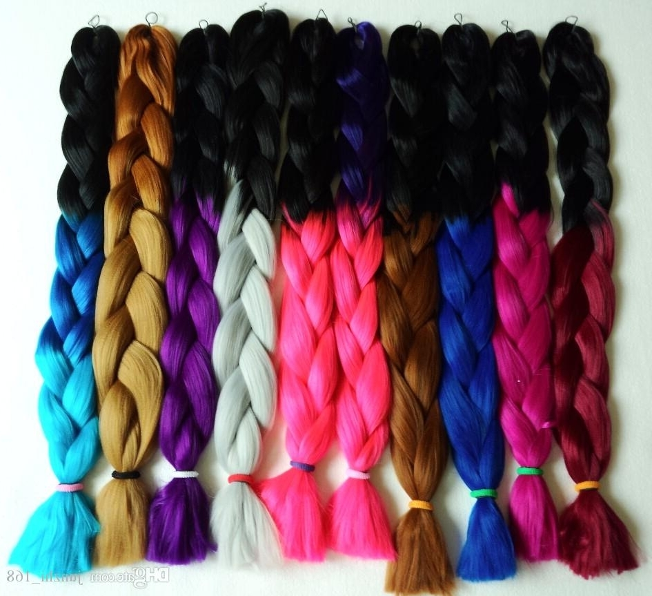 Colorful Super X Pression Jumbo Braiding Hair Ombre Synthetic Hair Inside Widely Used Braided Hairstyles With Color (View 5 of 15)