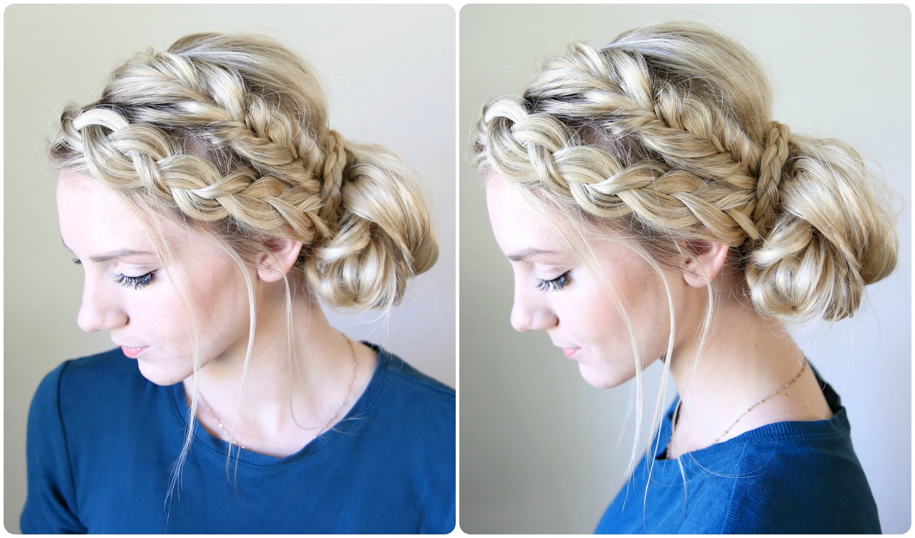 Cute Girls Hairstyles – Youtube In Famous Bun Braided Hairstyles (View 8 of 15)