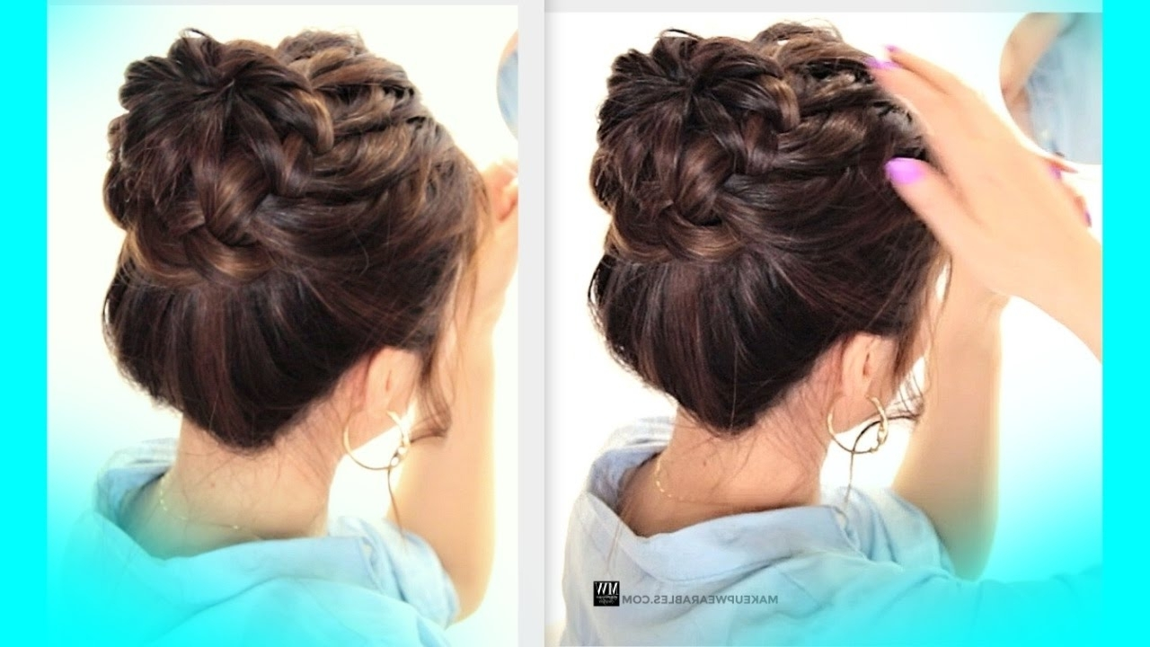 Cute School Braids Hairstyles Pertaining To Trendy Braided Bun Hairstyles (View 2 of 15)
