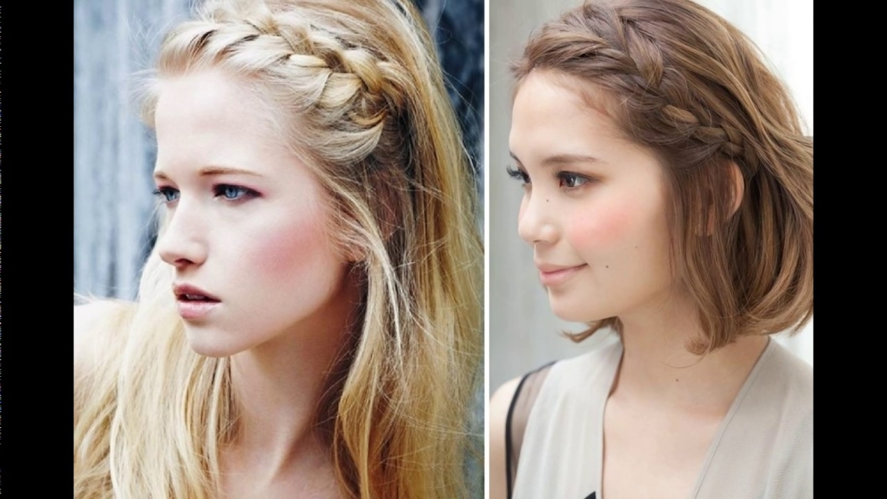 Easy Front Braid Hairstyle – Youtube With Regard To Most Up To Date Braided Hairstyles In The Front (Gallery 2 of 15)