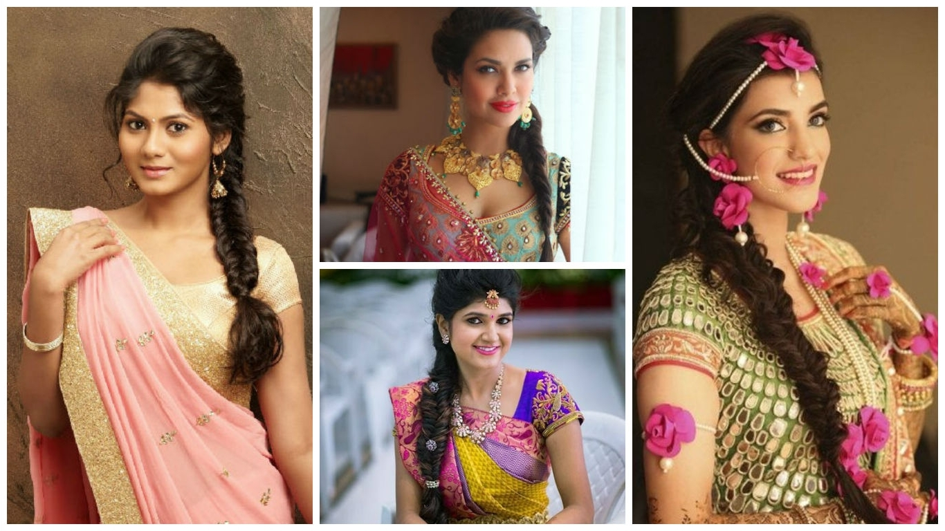 Photo Gallery Of Braided Hairstyles On Saree Viewing 9 Of