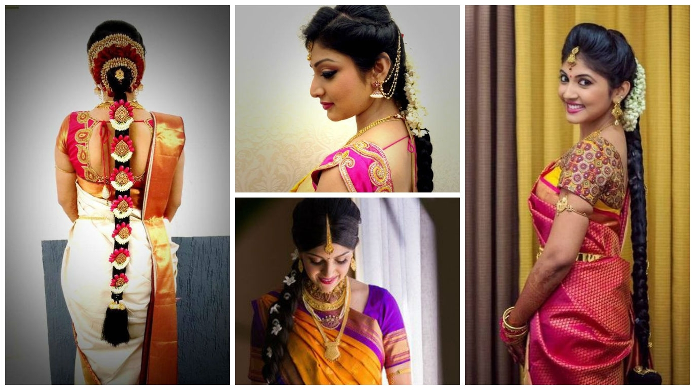 Easy Simple Hairstyles For Silk Saree Inside Well Known Braided Hairstyles On Saree (View 2 of 15)
