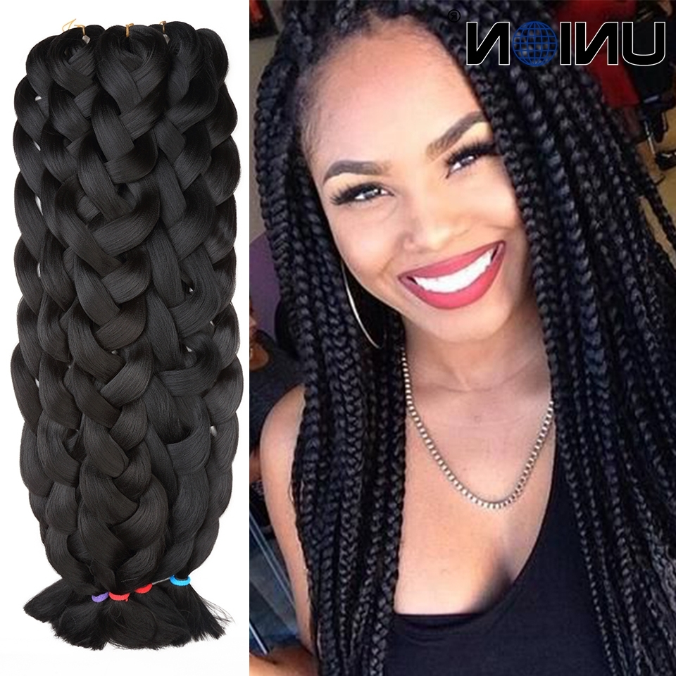 Extra Long Braiding Hair Synthetic Hair For Braiding Black Color With Regard To Favorite Braided Hairstyles In Weave (View 6 of 15)