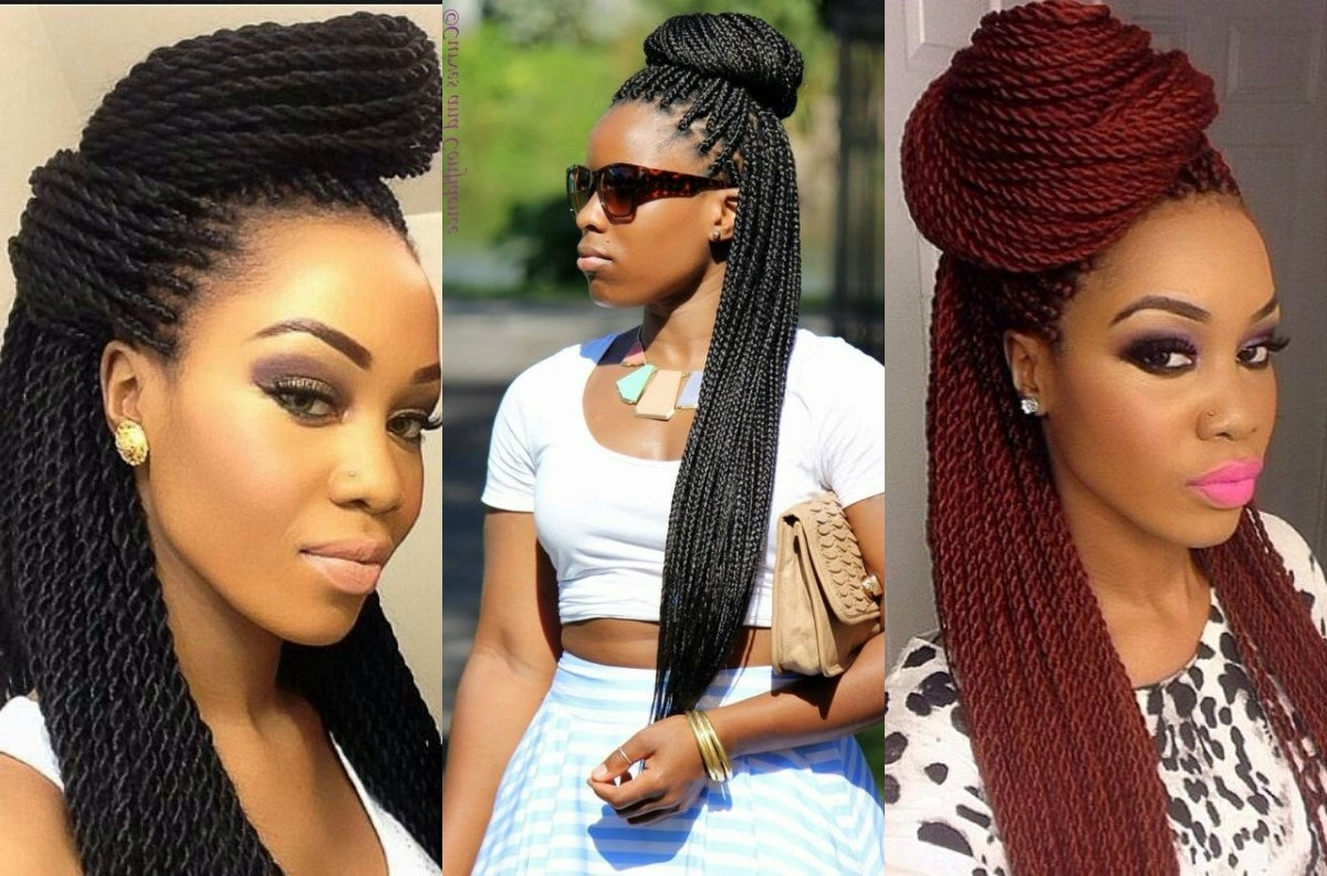Famous Box Braids Hairstyles Inside Box Braids Bun Hairstyles Half Up Down Black Women Braided Stock (View 8 of 15)