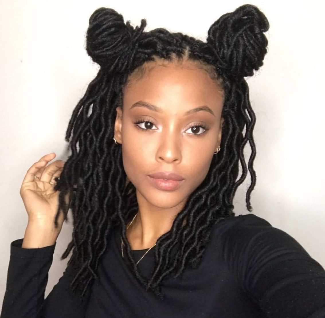Famous Braided Cornrows Loc Hairstyles For Women Within 35 Short Faux Locs And Protective Goddess Locs Styles (View 15 of 15)