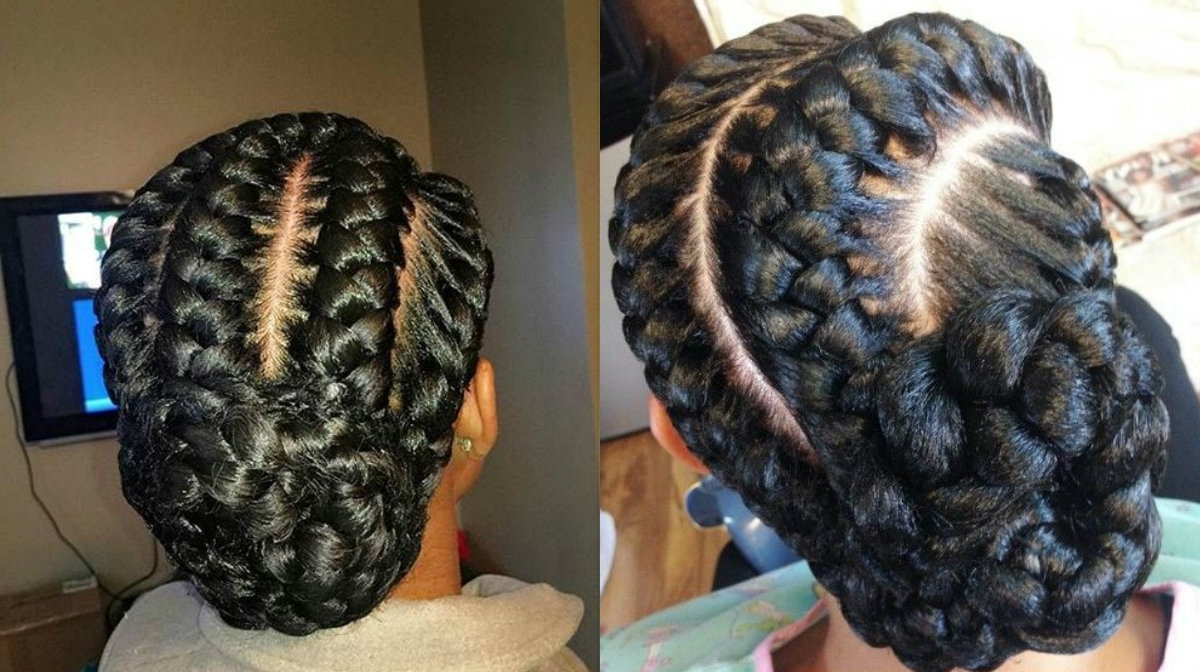 Fashionable Braided Hairstyles Into A Bun Pertaining To Stunning Goddess Braids Hairstyles For Black Women (View 4 of 15)