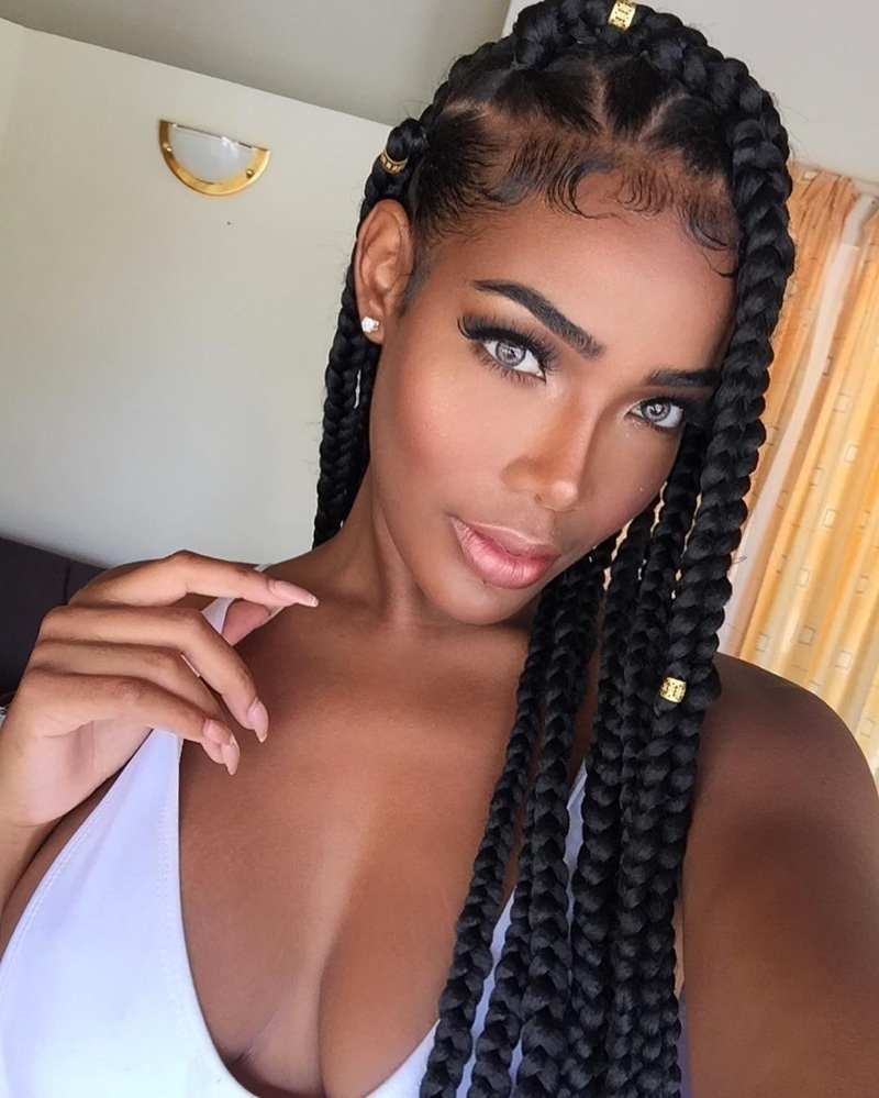 Fashionable Braided Hairstyles With Jewelry In Box Braids Hairstyles: 16 Photos Of Box Braid Hairdos (View 9 of 15)