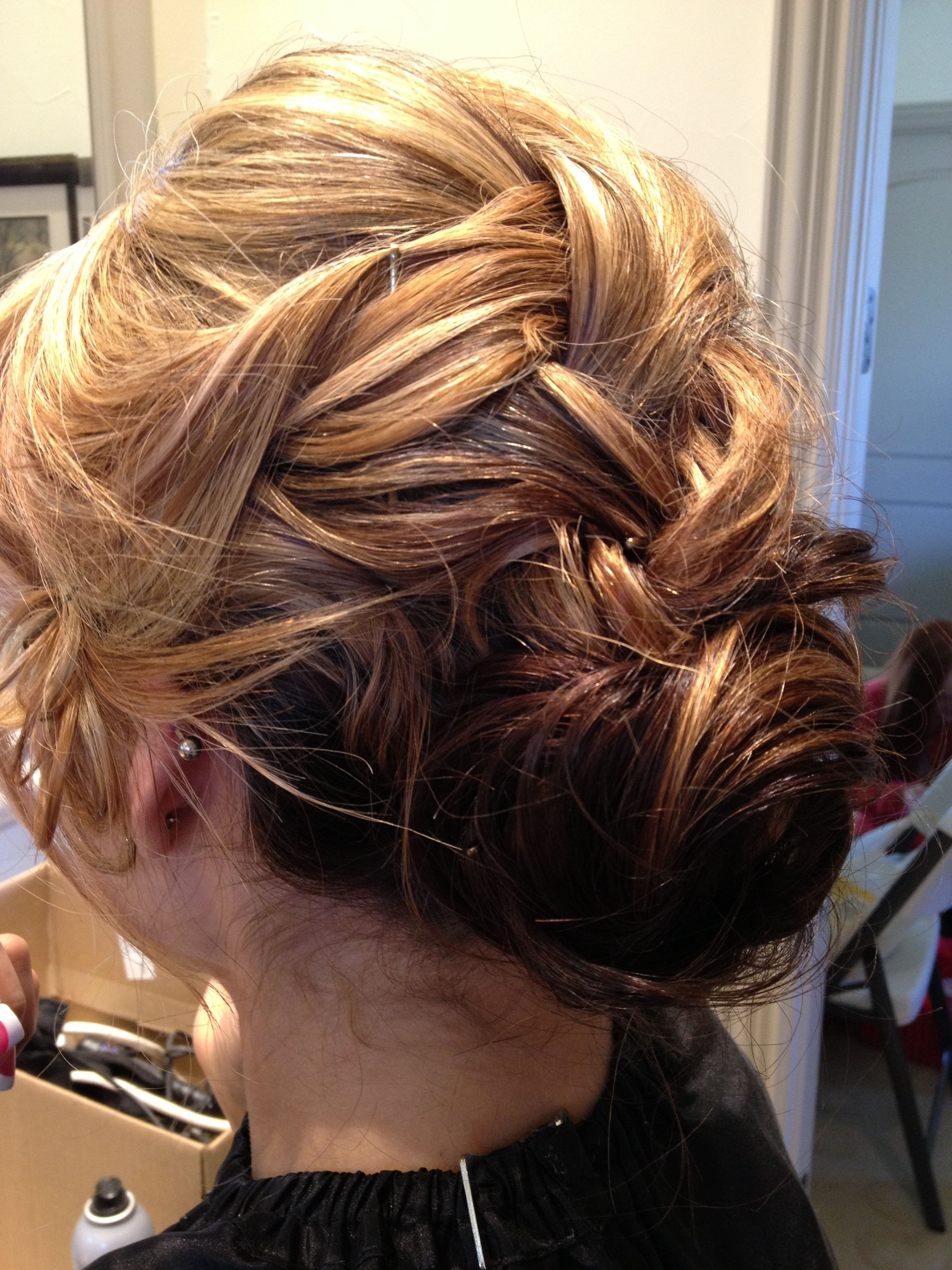 Fashionable Braided Loose Hairstyles Regarding Loose French Braid Into Low Bun Chignon Formal Hair Prom Wedding (View 15 of 15)