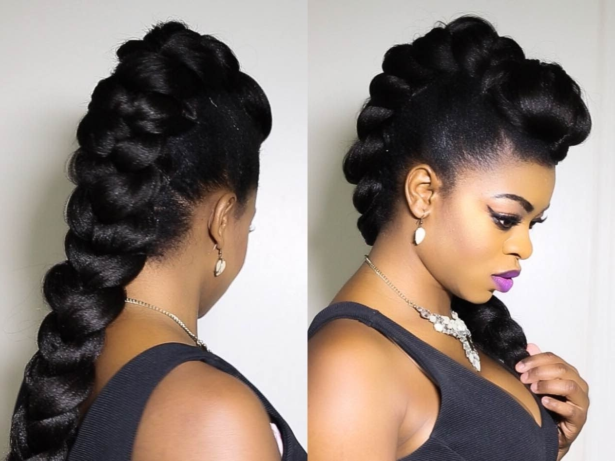Faux Braided Mohawk On Natural Hair!!!!!! – Youtube In 2018 Braided Hairstyles In A Mohawk (View 7 of 15)