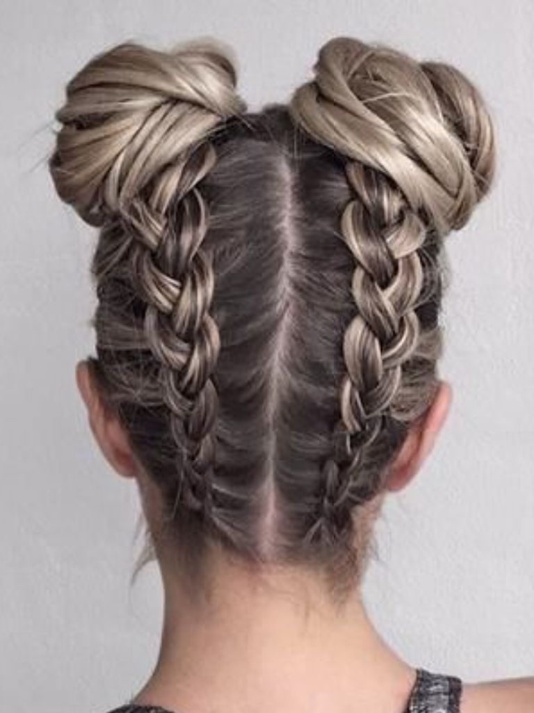Favorite Braided Hairstyles Into A Bun Regarding Boxer Braids Into Buns I Love This Hairstyle Because It Looks So (View 2 of 15)