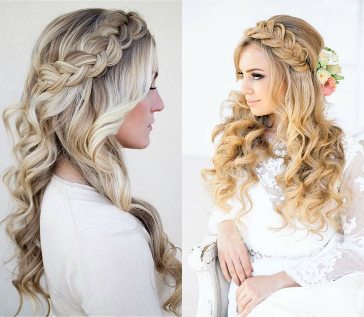 Favorite Down Braided Hairstyles Pertaining To Classy Choice Of Half Up And Half Down Wedding Hairstyles For Brides (View 6 of 15)