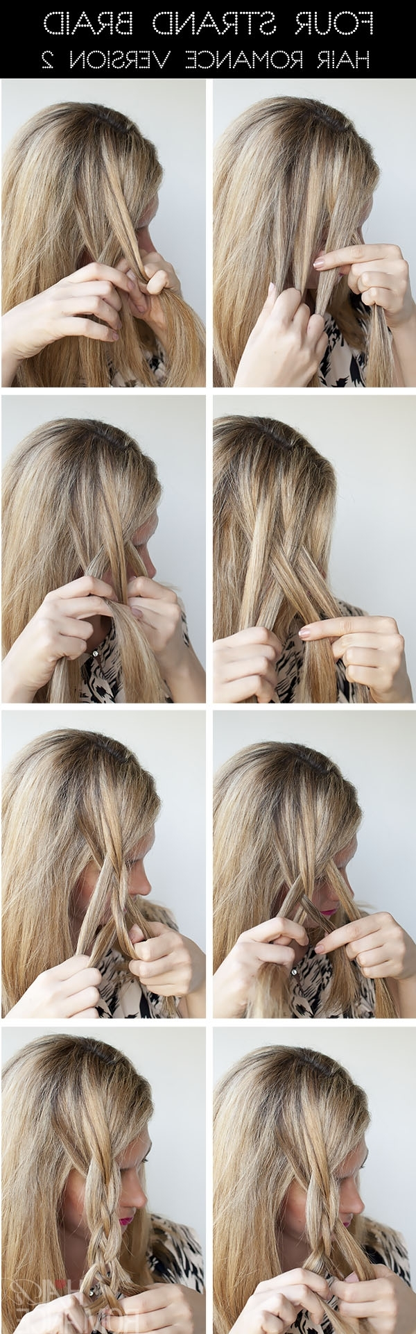 Hairstyle Tutorial – Four Strand Braids And Slide Up Braids – Hair Pertaining To Widely Used Up Braided Hairstyles (View 5 of 15)