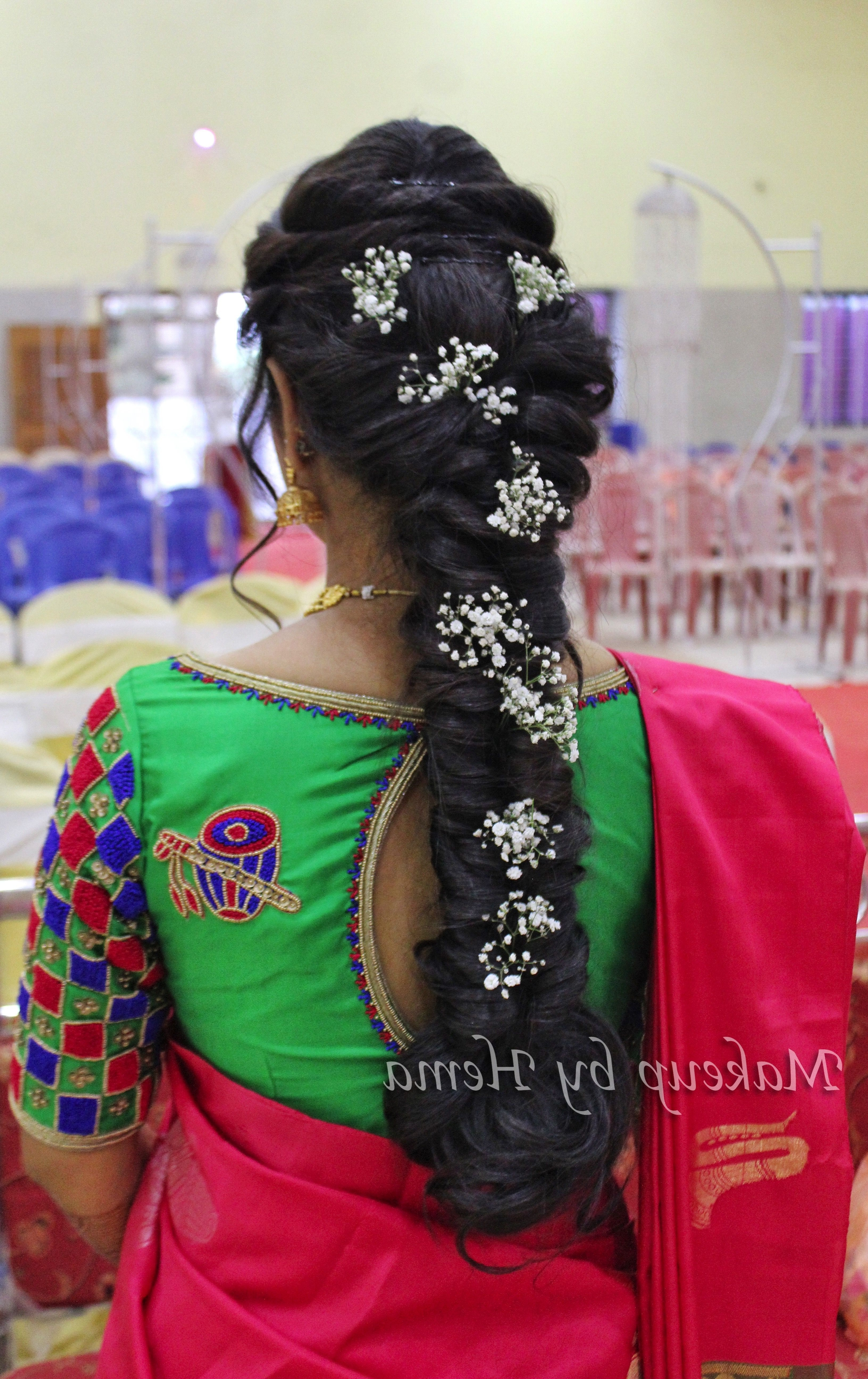 Hairstyles For Indian Wedding, Messy Braid, Bridal Braided Hairstyle In Favorite Braided Hairstyles On Saree (View 15 of 15)