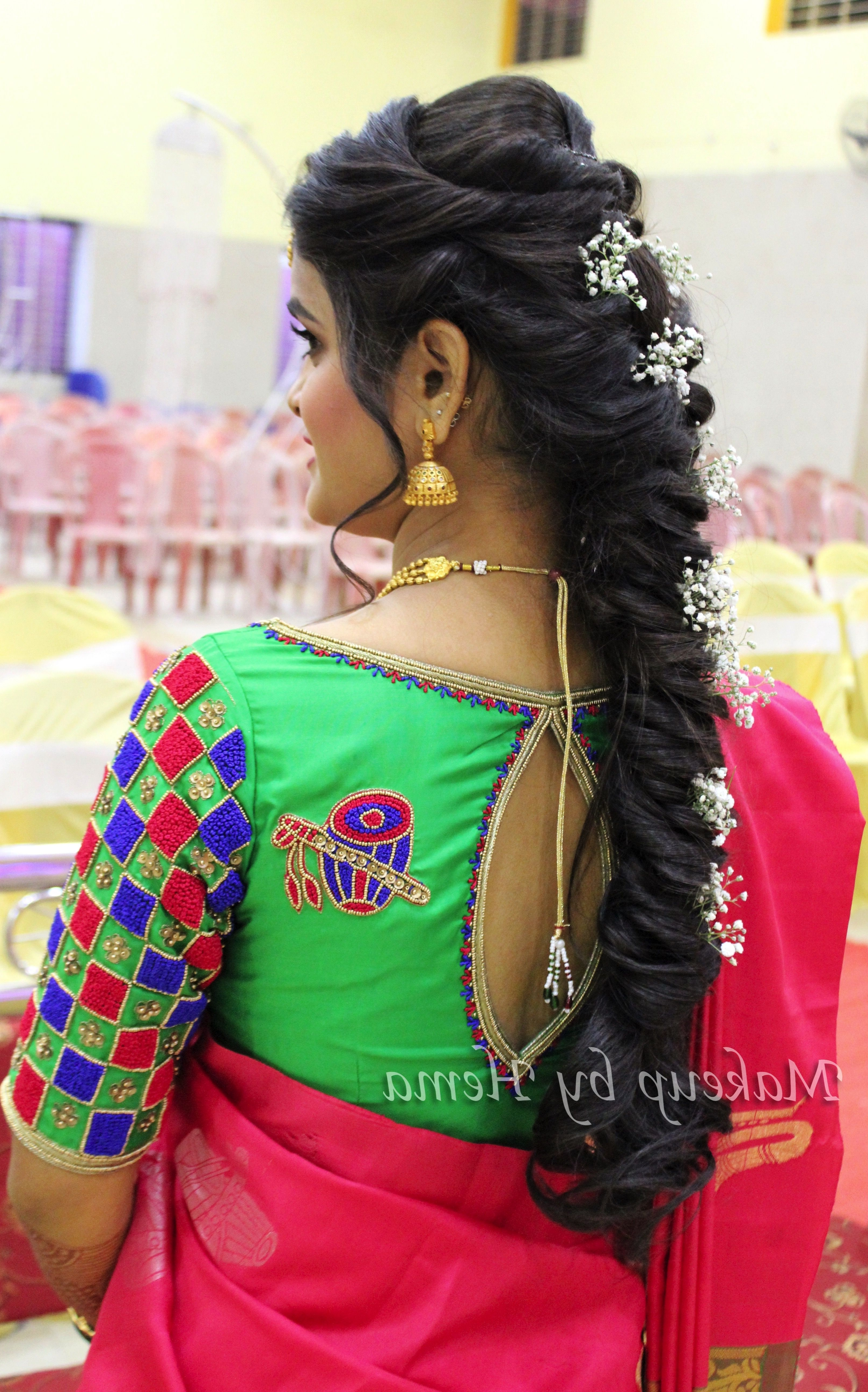 Hairstyles For Indian Wedding, Messy Braid, Bridal Braided Hairstyle Regarding 2017 Braided Hairstyles On Saree (View 8 of 15)