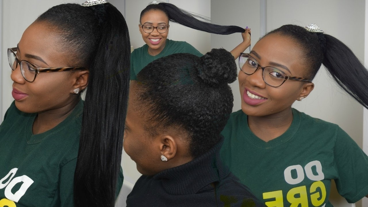 How To → Ponytail Using Braiding Hair On Short Natural (View 12 of 15)