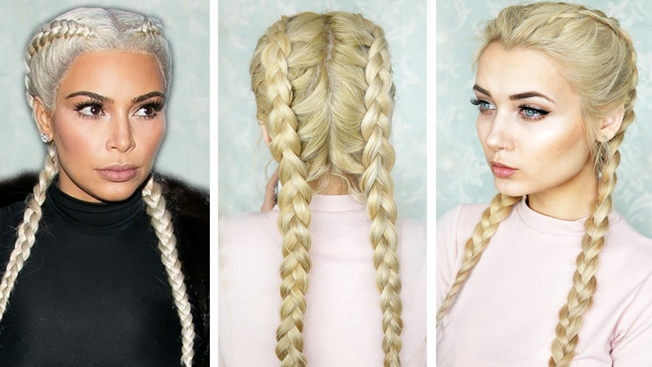 Kim K Inspired – Youtube Pertaining To Current Dutch Braid Hairstyles (Gallery 2 of 15)