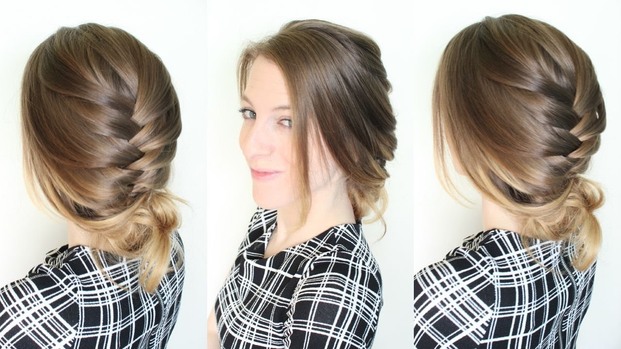 Latest Braided Updo Hairstyles For Short Hair With 3 Minute Braided Updo Hairstyle / Quick And Easy Updo (View 8 of 15)