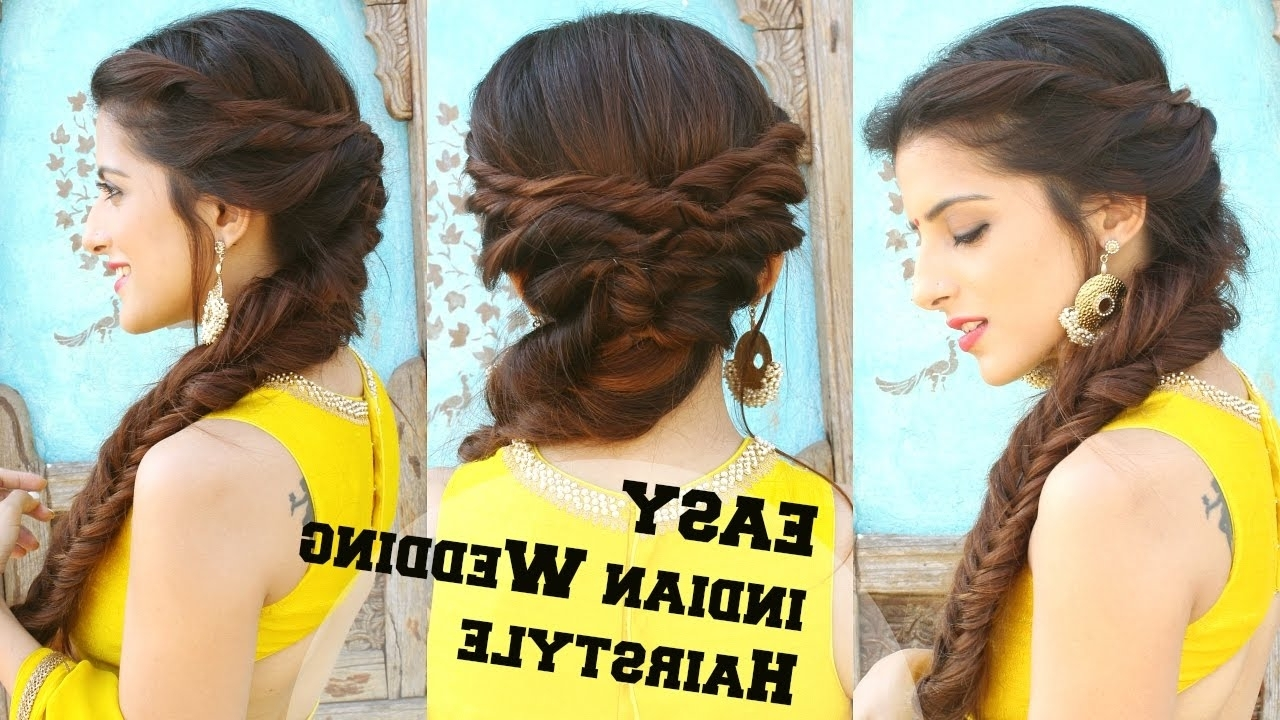 Latest Indian Braided Hairstyles Intended For Wedding Hairstyle For Medium To Long Hair (View 11 of 15)