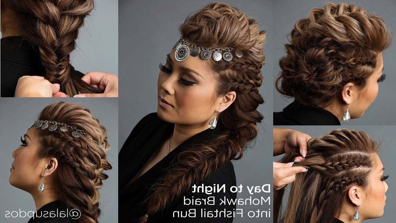 Mohawk Braid Into Fishtail Bun Throughout Preferred Braided Hairstyles Up In One (View 7 of 15)