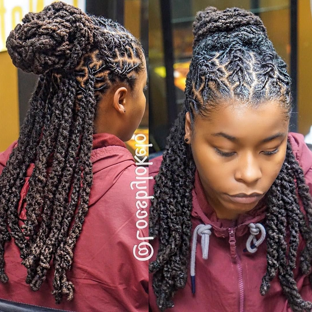 "Most Current Braided Cornrows Loc Hairstyles For Women Intended For Locsbylokelo) On Instagram: ""half Up, Half Down! Lobster Braids (View 10 of 15)"