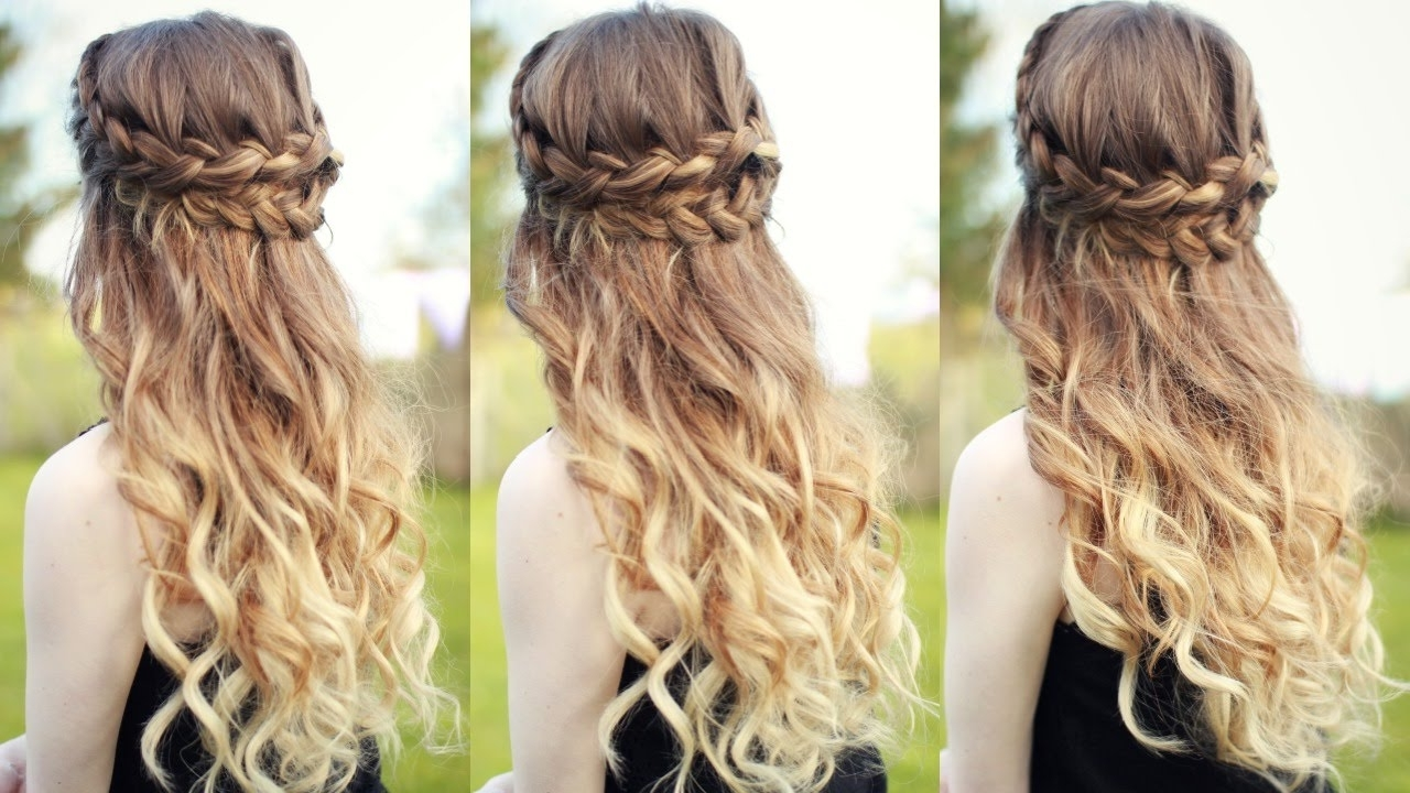 Most Popular Braid And Curls Hairstyles Pertaining To Beautiful Half Down Half Up Braided Hairstyle With Curls (View 2 of 15)