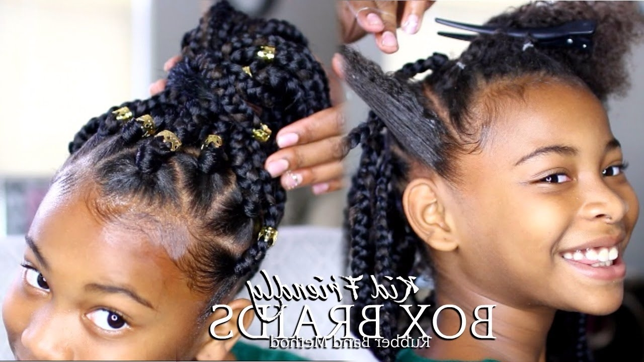 """[%Most Popular Braid Hairstyles With Rubber Bands Throughout How To: Box Braids """"rubber Band Method"""" Kids Hairstyle [Video