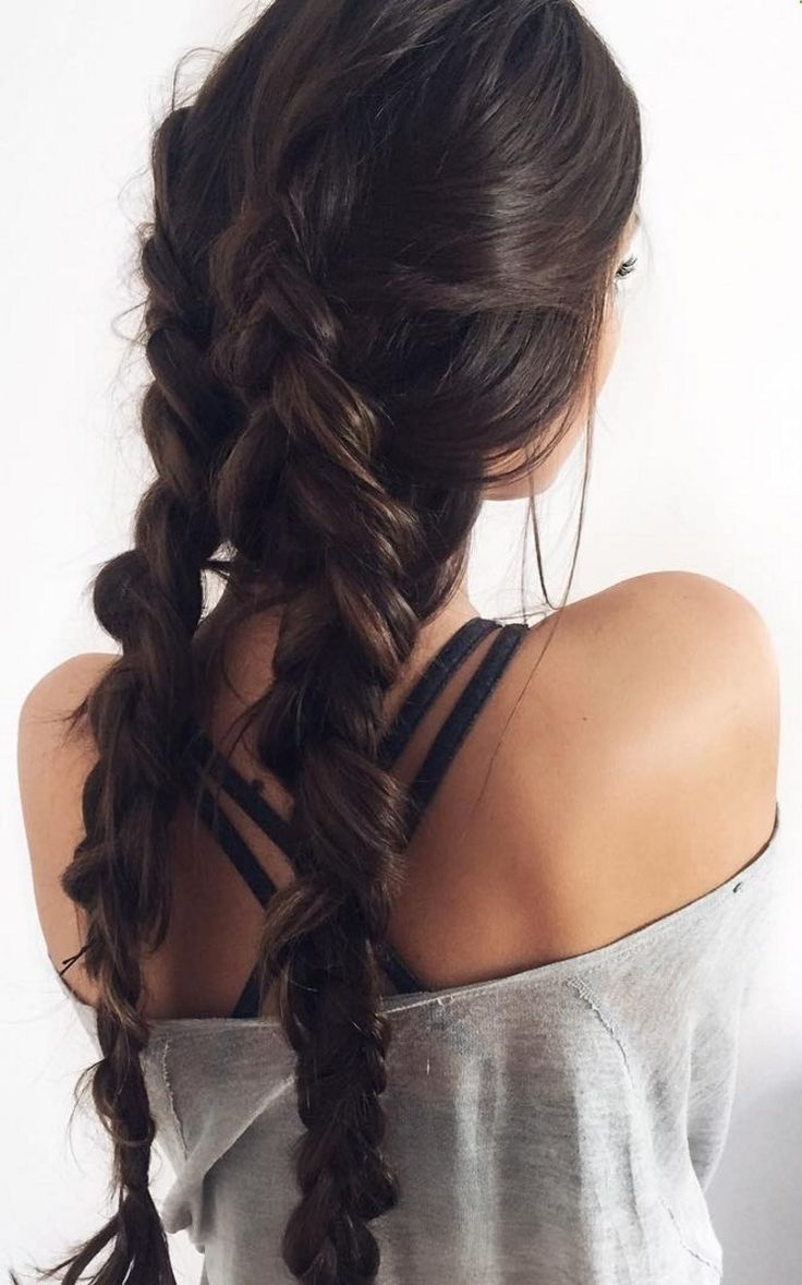 Most Popular Braided Hairstyles For Dark Hair With Regard To Double Dutch Braids With Chocolate Brown Luxy Hair Extensions For (View 10 of 15)
