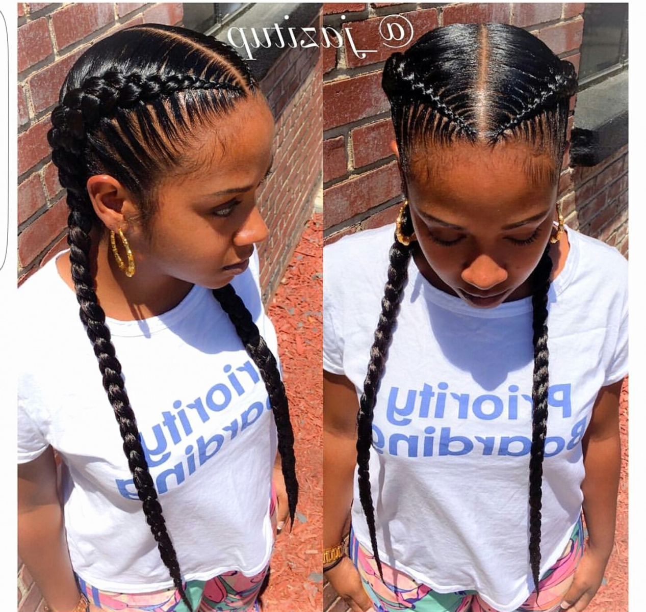 Most Recent Braided Hairstyles To The Back Regarding Cute Two Braid Hairstyles Awesome Cute Straight Back Braiding (View 11 of 15)