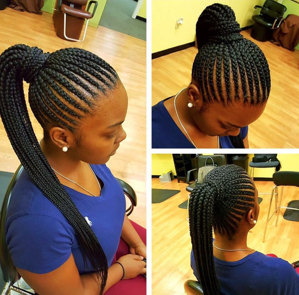 Most Recent Braided Hairstyles To The Back Within Nice Simple Straight Back Pony Via @marlyshairbraiding – Https (View 12 of 15)