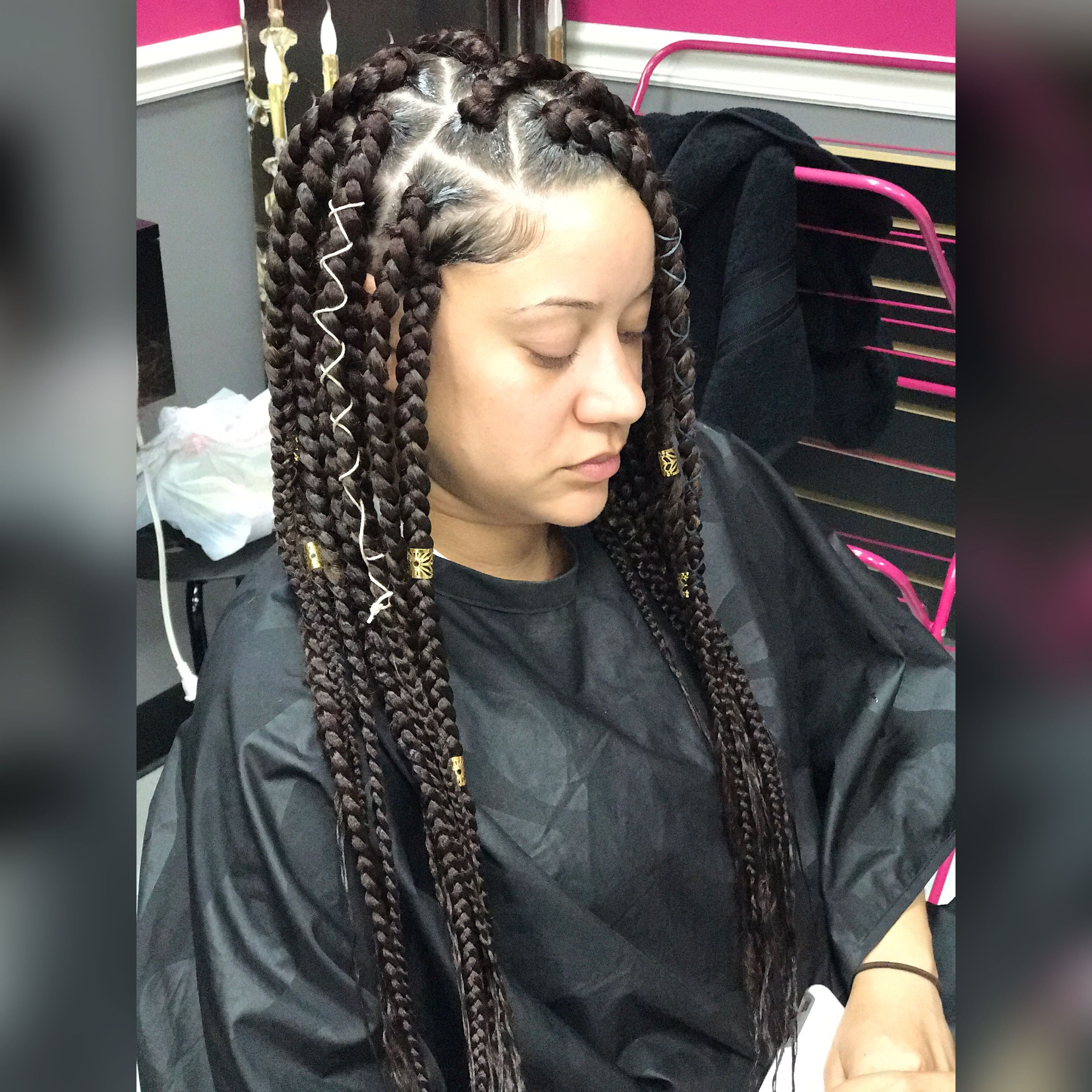Most Recently Released Box Braids Hairstyles Within Jumbo Box Braids Triangle Part Box Braids (View 11 of 15)