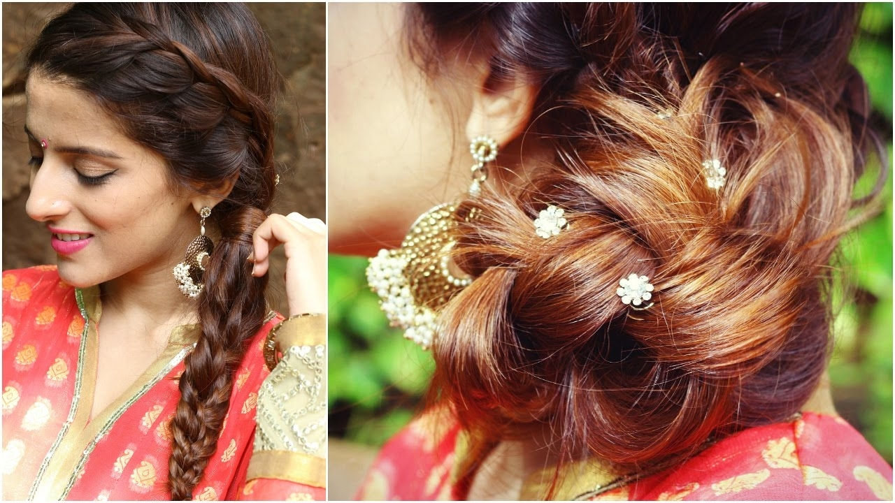 Most Recently Released Braid Hairstyles For Reception With 3 Indian Hairstyles For Medium To Long Hair (View 10 of 15)
