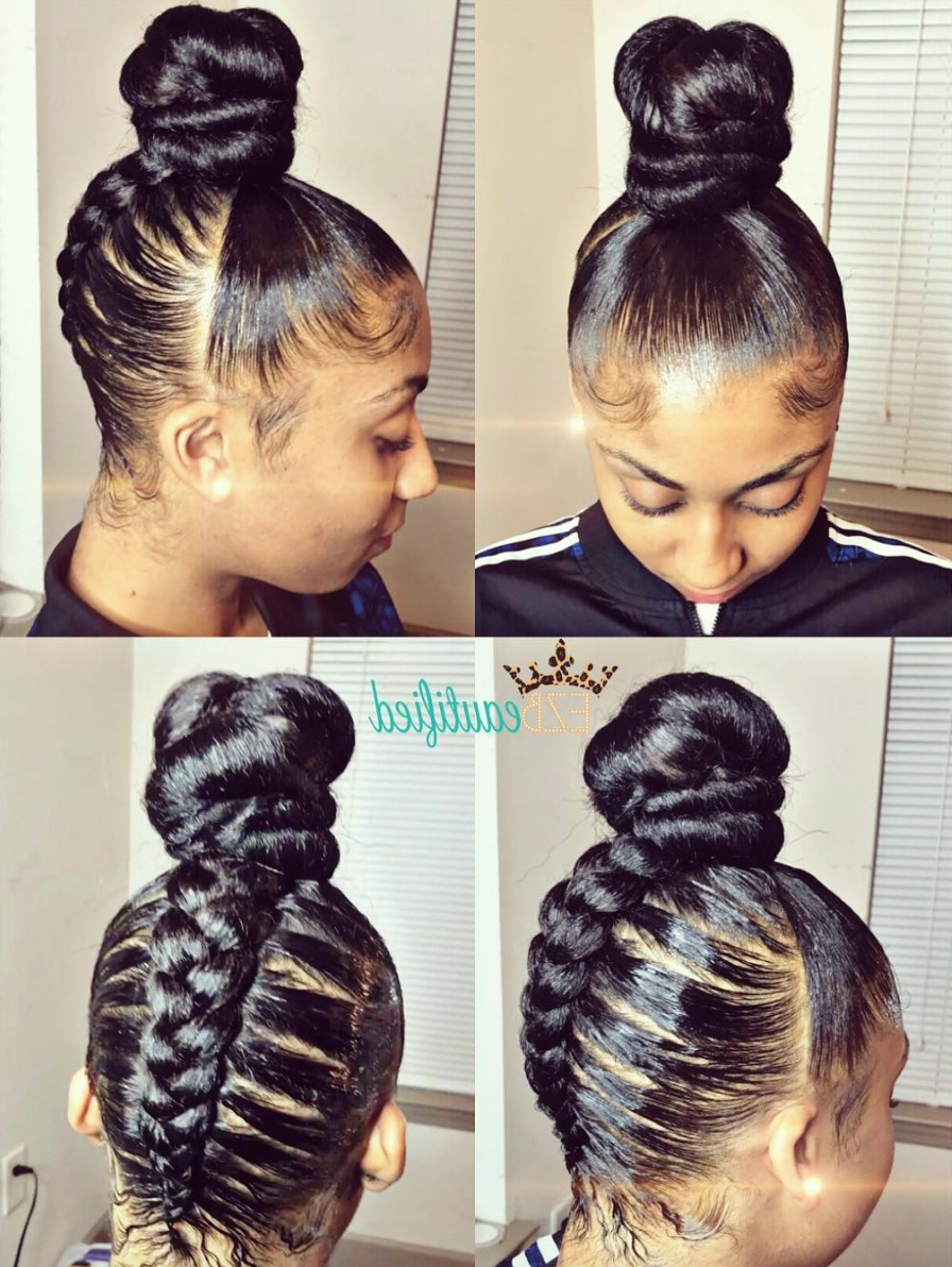 Most Up To Date Braided Updo Hairstyles With Weave For Creative Braided Bun Via @ezbeautified – Black Hair Information (View 14 of 15)