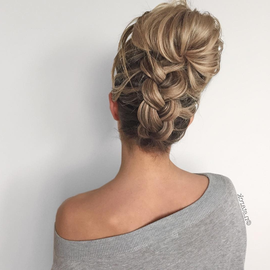 Newest Braided Hairstyles Up Into A Bun Intended For 30 Upside Down Braids For More Interesting Updos – Page 3 Of  (View 13 of 15)