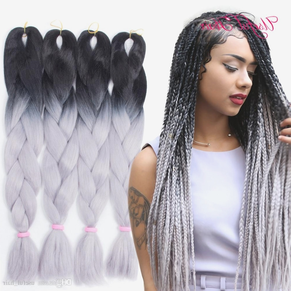 Ombre Grey Jumbo Braiding Hair Synthetic Two Tone Hair Color Black Inside Most Up To Date Braided Hairstyles With Color (Gallery 4 of 15)
