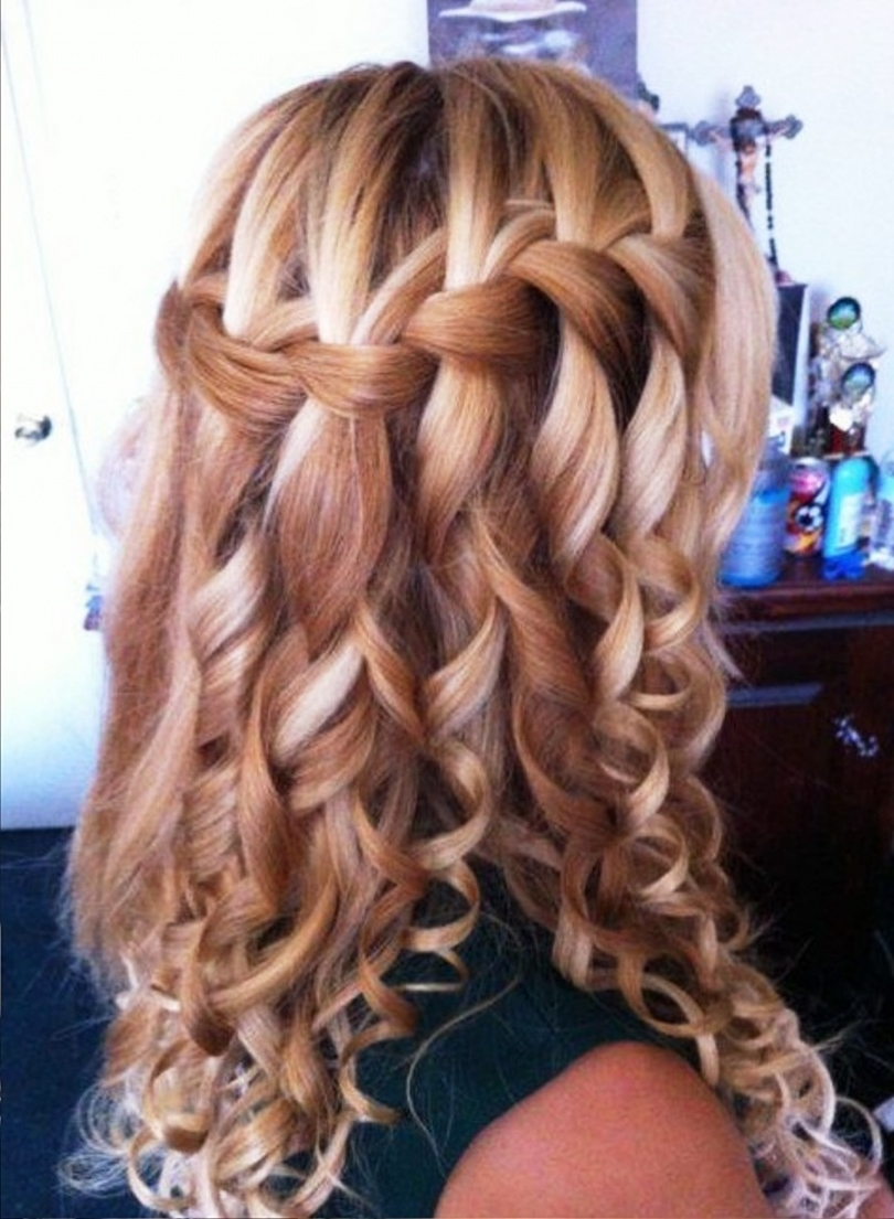 Popular Braid And Curls Hairstyles With Regard To Pictures Of Curly Waterfall Braid Hairstyle Throughout Braid And (View 4 of 15)
