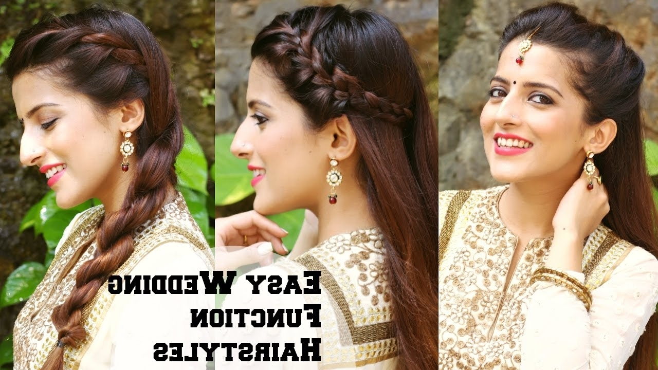 Popular Braid Hairstyles For Reception Inside 3 Easy Hairstyles For Indian Wedding Occasions For Medium Hair (View 12 of 15)