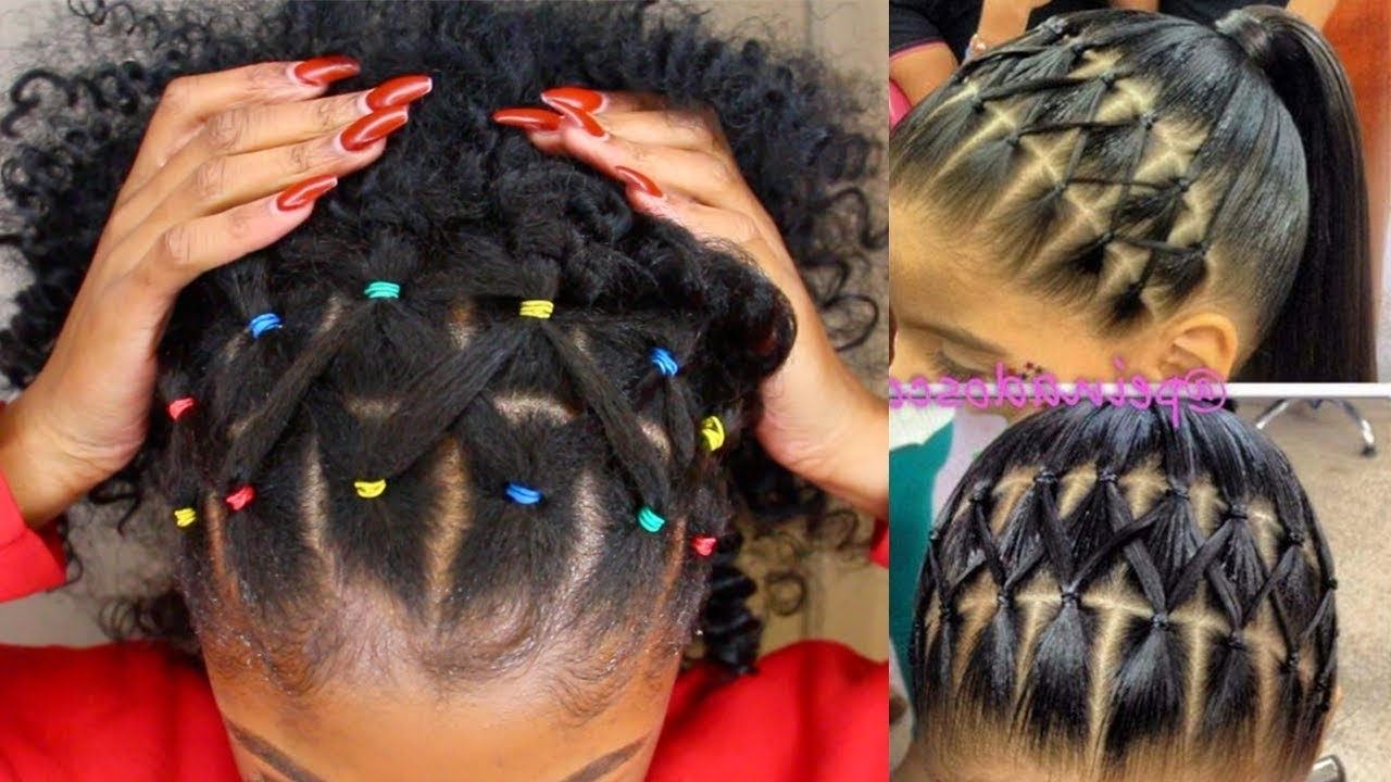 Popular Braid Hairstyles With Rubber Bands Pertaining To ?pintrest Rainbow Rubber Band Braidless Crochet Half Up Half Down (View 11 of 15)