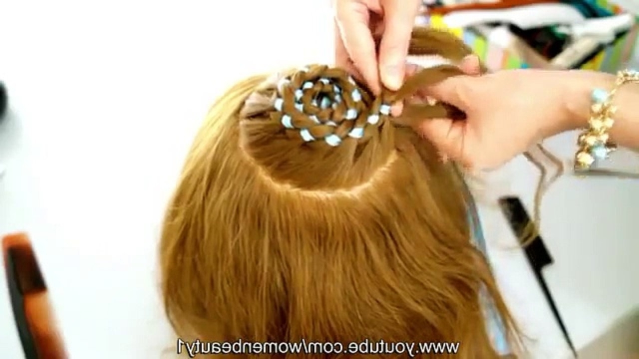 Popular Braided Ribbon Hairstyles Inside Hairstyles For Long Hair Circle Braid 4 Strand Ribbon Braid – Video (View 14 of 15)