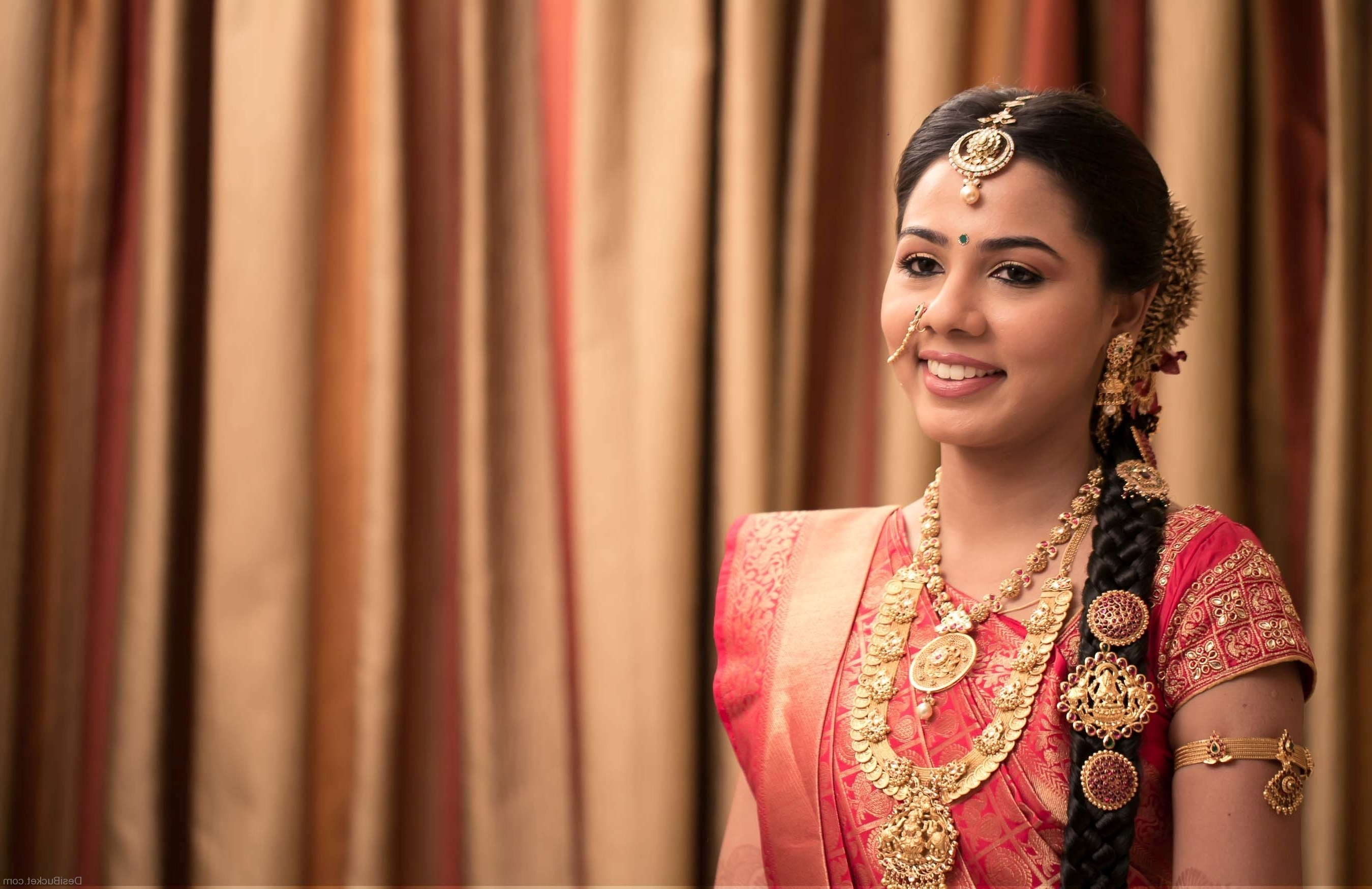 Preferred Braid Hairstyles For Reception Pertaining To Confortable Reception Hairstyle For South Indian Bride For Your (View 11 of 15)