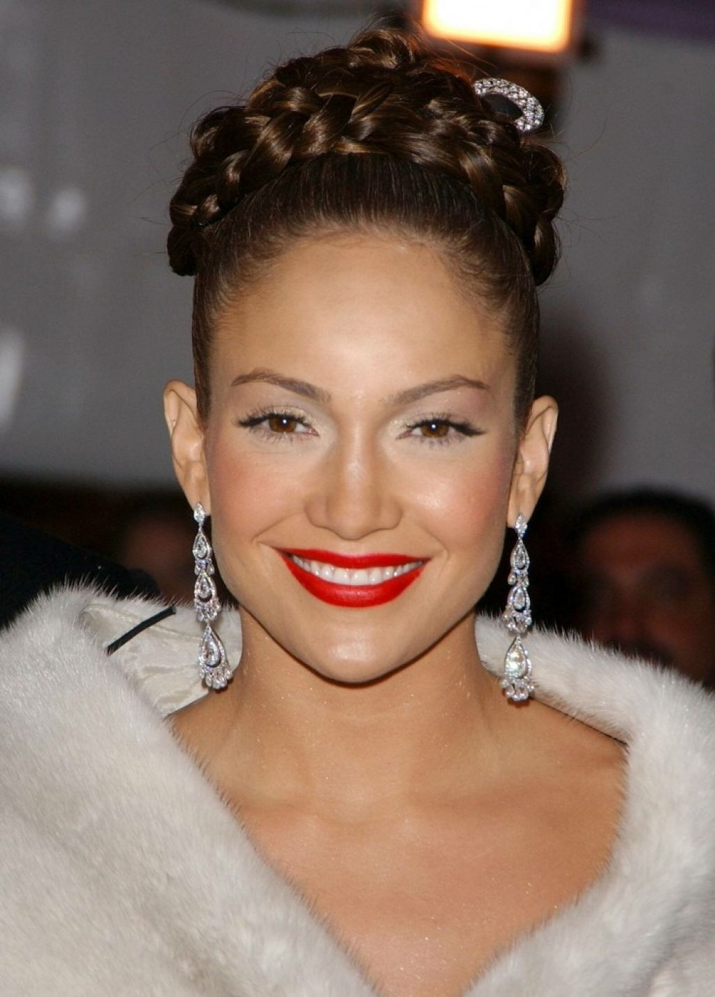 Preferred Jennifer Lopez Braided Hairstyles Throughout Lopez S High Braided Updo Hairstyle With Jennifer Lopez Braided Bun (View 8 of 15)
