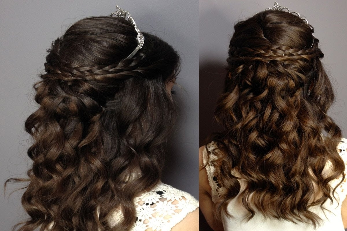 Prom/sweet Sixteen Hair Tutorial: Half Up Half Down Curly Updo Pertaining To Most Recently Released Braided Quinceaneras Hairstyles (View 9 of 15)